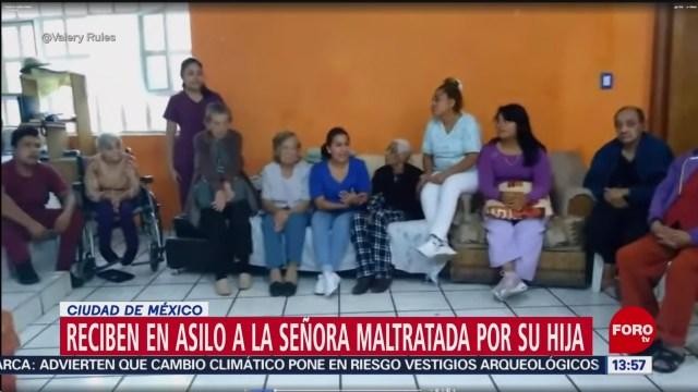 FOTO: Reciben en asilo a la señora maltratada por su hija