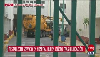 Restablecen servicio en hospital Rubén Leñero tras inundación