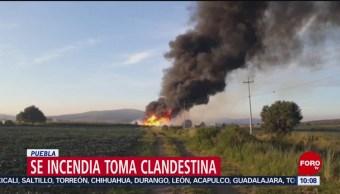 FOTO: Se incendia toma clandestina en Puebla, 20 Julio 2019