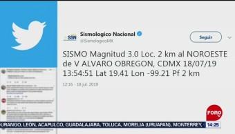 Sismo con epicentro en alcaldía Álvaro Obregón, CDMX