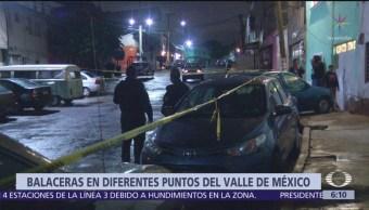 Se registran cinco balaceras en diferentes puntos del Valle de México