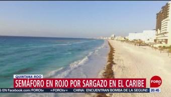 Foto: Semáforo Rojo Sargazo Quintana Roo 19 Julio 2019