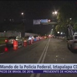 Sigue bloqueo en el Centro de Mando de la Policía Federal en Iztapalapa