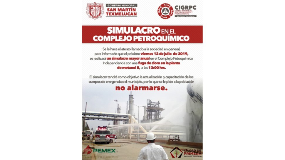 IMAGEN Simulacro en San Martín Texmelucan (Twitter)