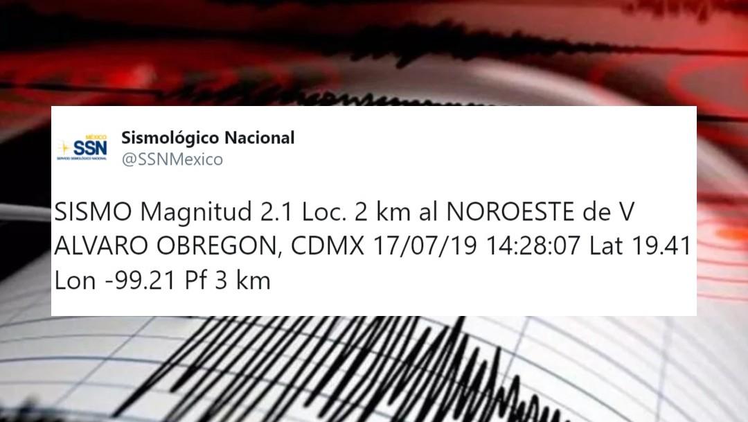 Foto: El Servicio Sismológico Nacional (SSN) reporta este miércoles a las 14:28 horas un sismo de magnitud 2.1 en la alcaldía Álvaro Obregón, julio 19 de 2019 (Twitter: @SSNMexico)