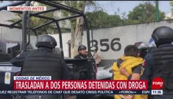 Trasladan a dos personas detenidas con droga en la CDMX