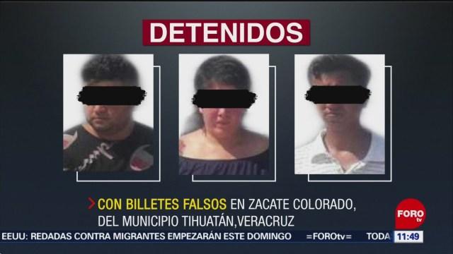 Tres detenidos con billetes falsos en Veracruz