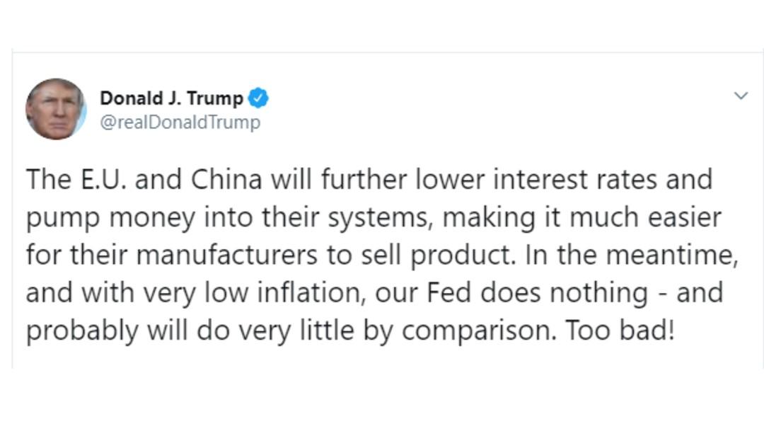 Foto: Tuit de Trump sobre la Reserva Federal, 29 de julio de 2019, Estados Unidos