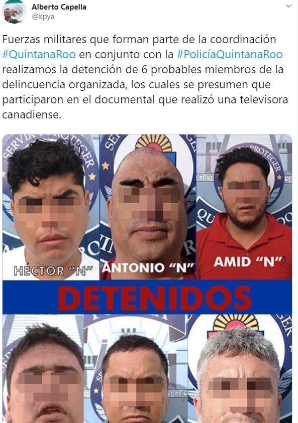 En su cuenta de Twitter, el titular de la SSP, Alberto Capella, informó de la detención de los integrantes del cártel de Sinaloa