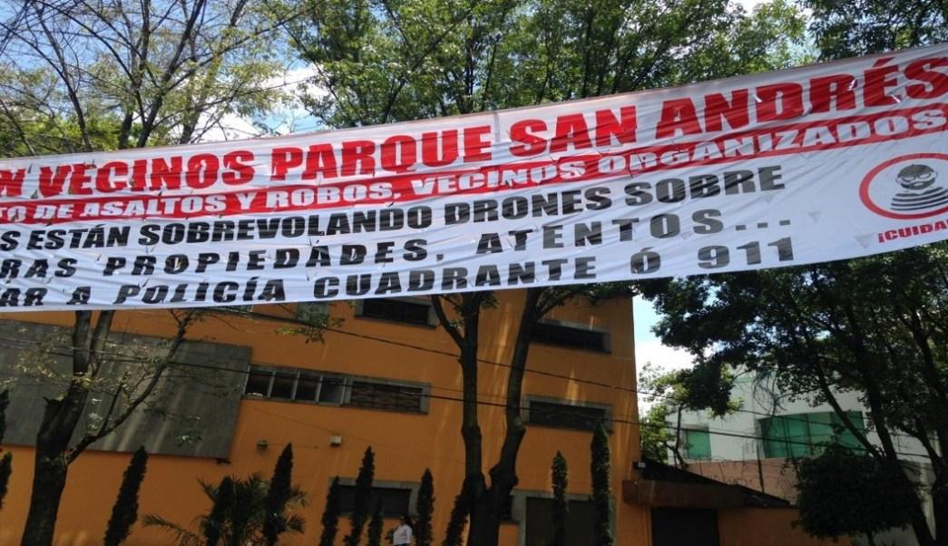 Foto: vecinos de Coyoacán denuncian uso de drones. (Noticieros Televisa)