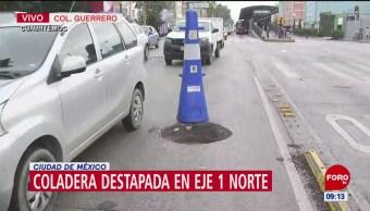 Vecinos denuncia coladera destapada en la alcaldía Cuauhtémoc