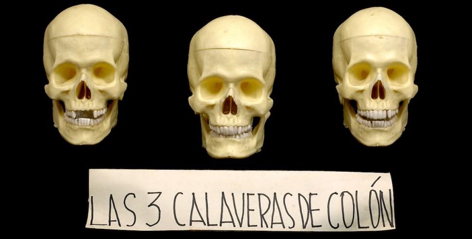 Foto:Artefacto-calaveras-colon-nicanor-parra. Septiembre 2019