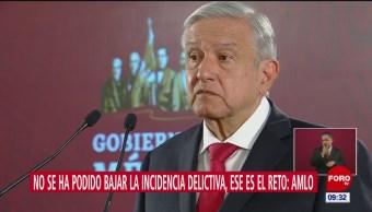 Admite AMLO que no ha bajado la incidencia delictiva en México
