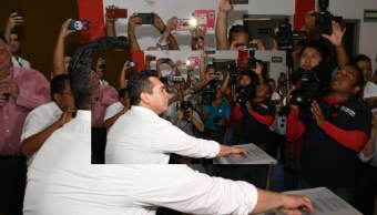 FOTO Alejandro Moreno dice que contienda del PRI tuvo resultado claro, Ivonne Ortega denuncia fraude (Twitter @alitomorenoc)