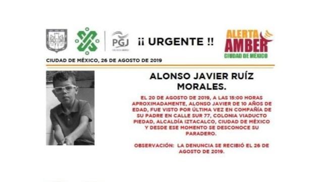 Foto Alerta Amber Ayuda a localizar a Alonso Javier Ruíz Morales