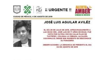 Foto Alerta Amber para ayudar a localizar a José Luis Aguilar Aviléz 5 agosto 2019