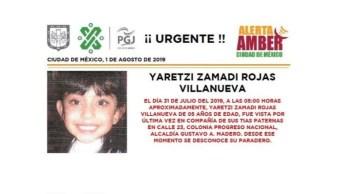 Foto Alerta Amber para ayudar a localizar a Yaretzi Zamadi Rojas Villanueva 1 agosto 2019