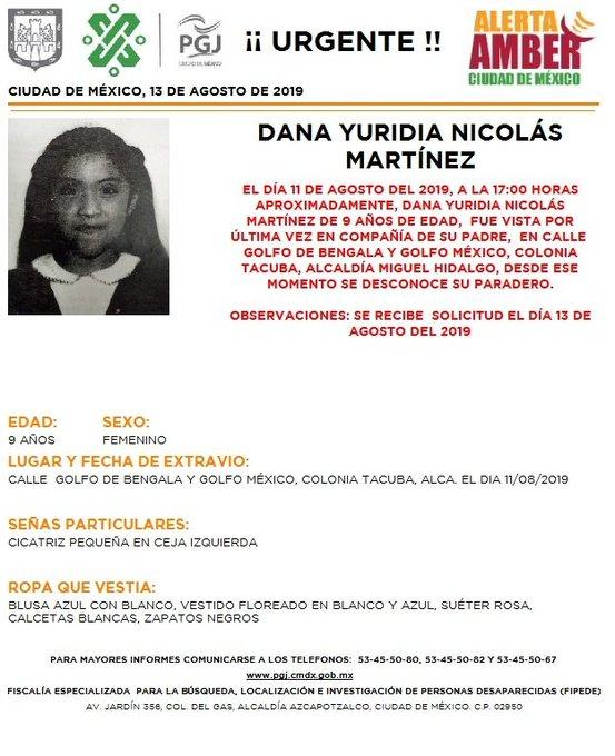 Foto Alerta Amber para localizar a Dana Yuridia Nicolás Martínez 13 agosto 2019