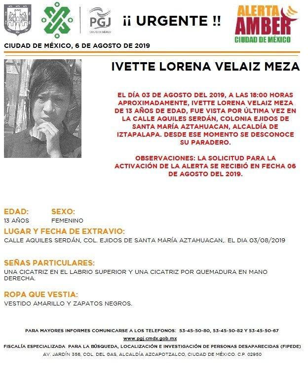 Foto Alerta Amber para localizar a Ivette Lorena Velaiz Meza 6 agosto 2019