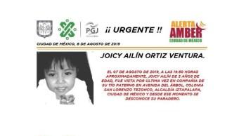 Foto Alerta Amber para localizar a Joicy Ailín Ortiz Ventura 8 agosto 2019