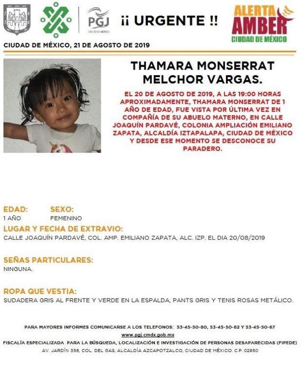 Foto Alerta Amber para localizar a Thamara Monserrat Melchor Vargas 21 agosto 2019
