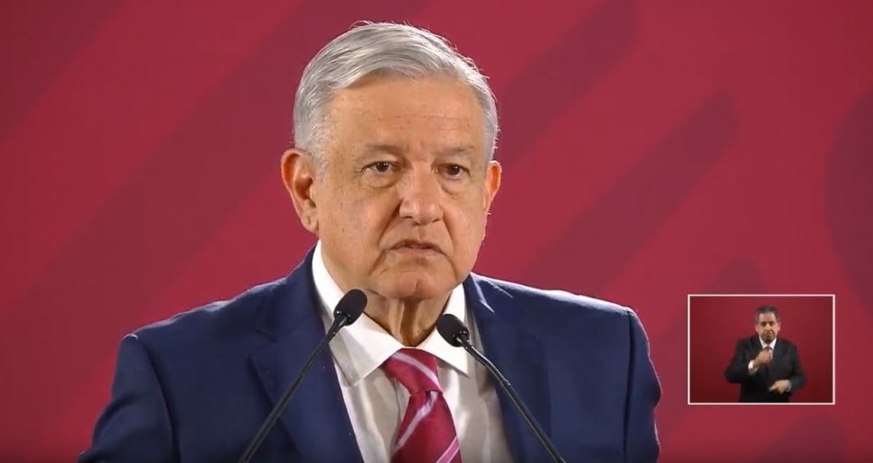 El presidente de México, Andrés Manuel López Obrador, durante su conferencia de prensa matutina, 8 agosto 2019