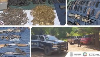 Armas aseguradas en El Camalotito, municipio