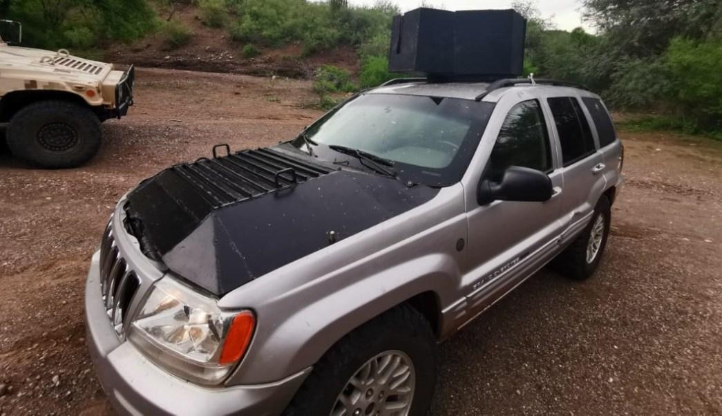 Foto: Vehículo blindado asegurado en Sonora, 31 de julio de 2019