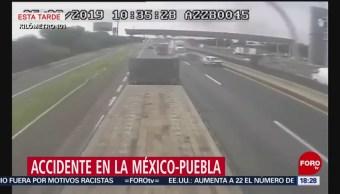 Foto: Video Automóviles impactan contra tráiler México-Puebla