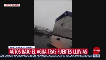 FOTO: Autos bajo el agua tras fuertes lluvias en Naucalpan, Edomex, 25 Agosto 2019