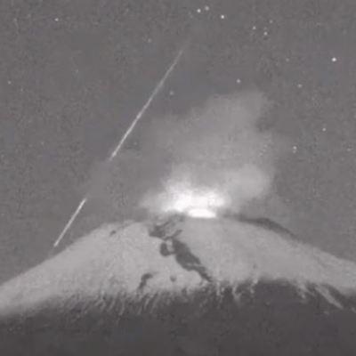 Captan caída de meteoro cerca del volcán Popocatépetl