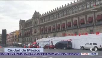 Campesinos alistan marcha en CDMX, mantienen plantón frente a Palacio Nacional