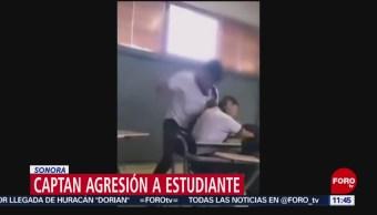 Captan agresión a estudiante en Sonora