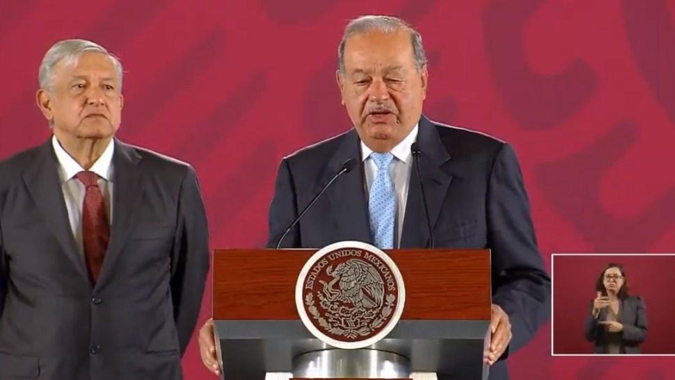 Foto: Carlos Slim y López Obrador, 27 de agosto de 2019, Ciudad de México