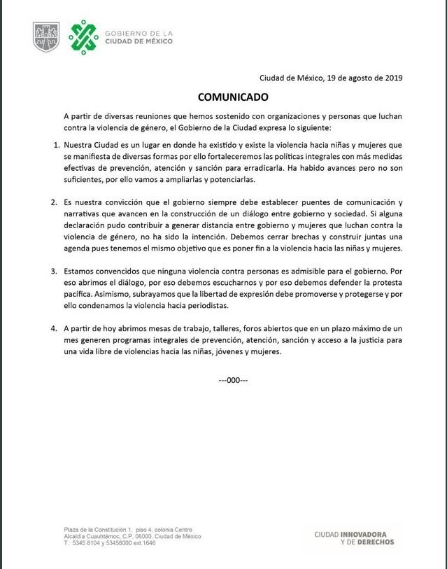 Comunicado del Gobierno de la CDMX.