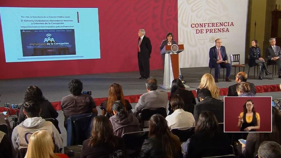 Foto: Irma Eréndira Sandoval, secretaria de la Función Pública, presentó el nuevo programa contra la corrupción, 7 agosto 2019