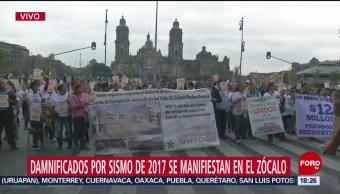 Foto: Damnificados por sismo manifiestan Zócalo