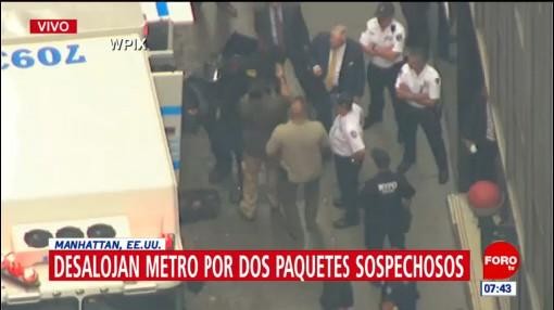 Desalojan Metro por dos paquetes sospechosos en Manhattan, Estados Unidos