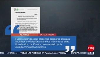 FOTO: Detienen a dos tras ser señalados de violar a dos menores de edad, 24 Agosto 2019