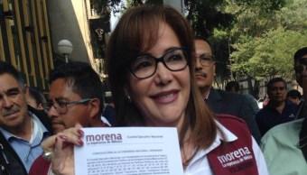 Foto: La presidenta de Morena ratificó sus intenciones de seguir siendo dirigente nacional del partido, 18 de agosto 2019. (Twitter @yeidckol)