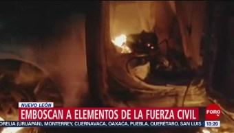 FOTO: Emboscan a elementos de la Fuerza Civil en Nuevo León, 17 Agosto 2019