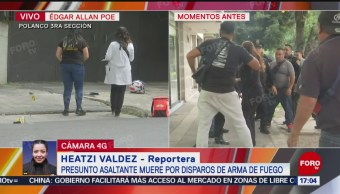 FOTO: Familiares presunto asaltante abatido Polanco intentan acercarse cuerpo