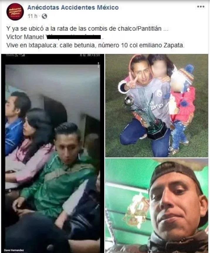 Identifican a presuntos asaltantes de pasajeros en Chalco. Facebook-Anécdotas Accidentes México