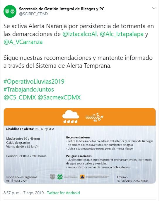 Captura de pantalla. Twitter/@SGIRPC_CDMX