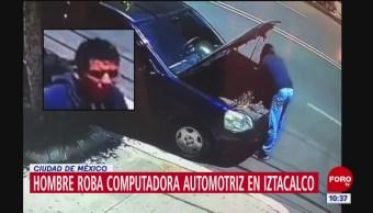 Hombre roba computadora automotriz en Iztacalco