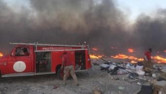 Sofocan incendio en relleno sanitario de Ciudad Victoria, Tamaulipas