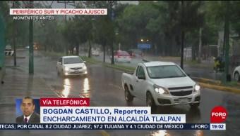 FOTO: Lluvia provoca encharcamientos en Tlalpan, 18 Agosto 2019