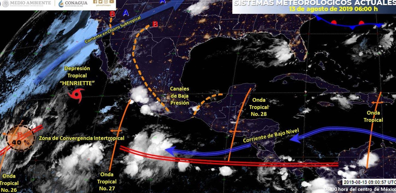 mapa con el clima para este 13 de agosto