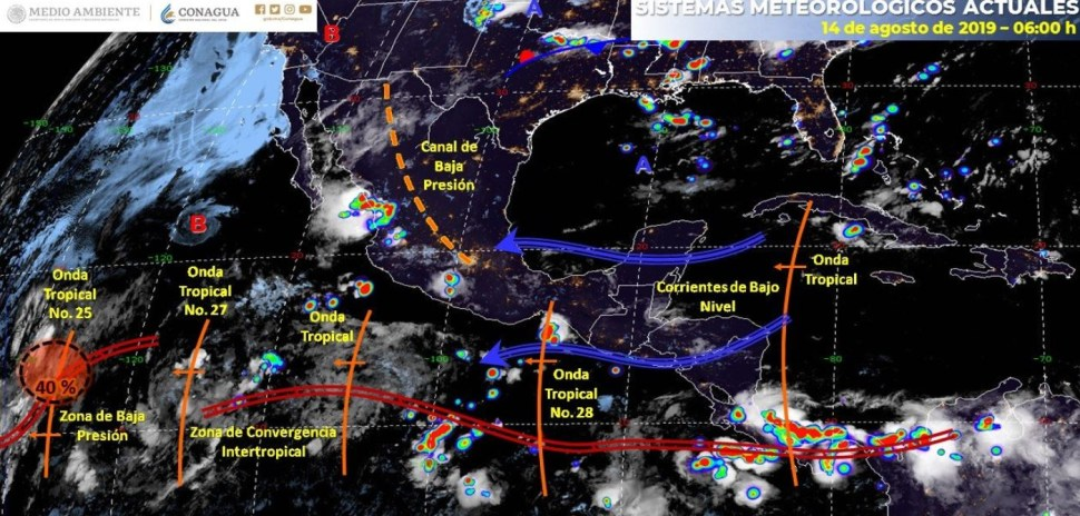 Mapa con el pronóstico del clima para este 14 de agosto de 2019