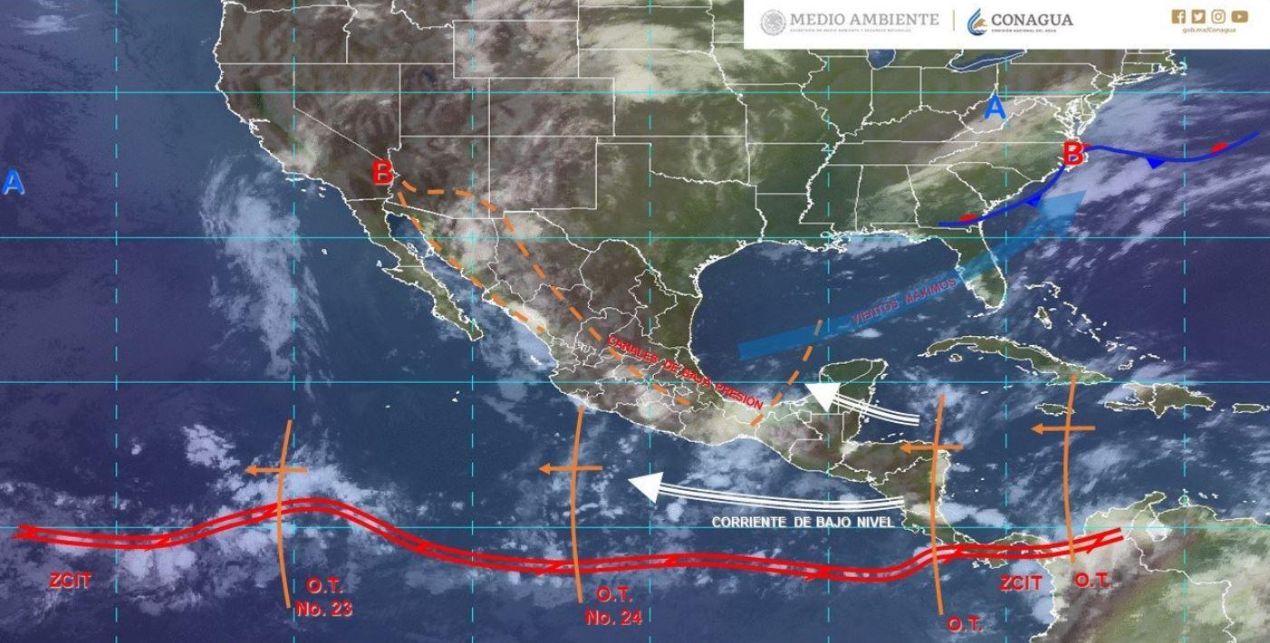 Mapa con el pronóstico del clima para este 5 de agosto